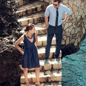J CREW Navy Blue KAMI DRESS In Classic Faille 2